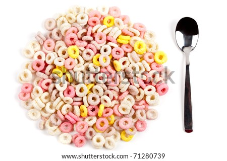 Closeup of a pile of colorful ring cereals - stock photo