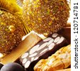 closeup of a pile of different turron, typical spanish christmas sweet - stock photo