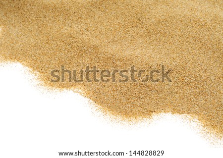 closeup of a pile of sand of a beach or a desert, on a white background - stock photo