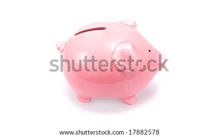Closeup of a pink piggy bank. Isolated on white.