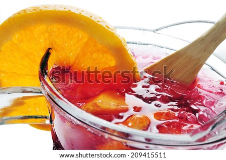 closeup of a pitcher with typical spanish sangria - stock photo