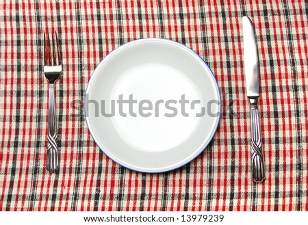 closeup of a place setting with dinner-plate