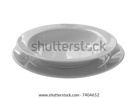 closeup of a place setting with dinner-plate  isolated on white background - stock photo