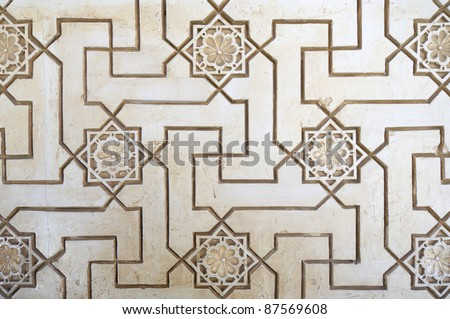closeup of a plaster wall in the Alhambra Palace, Granada, Andalusia, Spain - stock photo