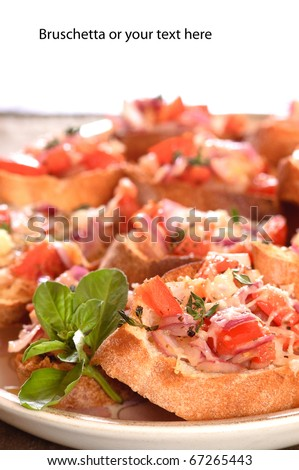 closeup of a plate of Bruschetta with space above for your text - stock photo