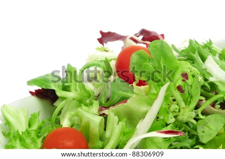 closeup of a plate of salad with cherry tomatoes - stock photo