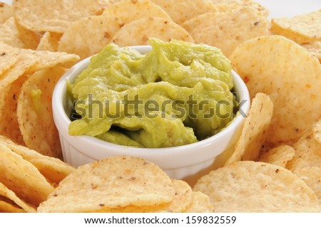Closeup of a plate of tortilla chips with guacamole - stock photo