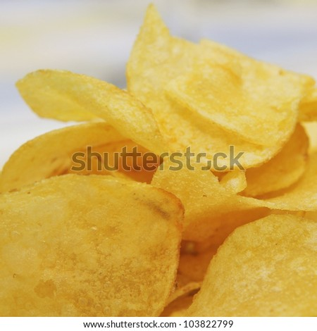 closeup of a plate with potato chips