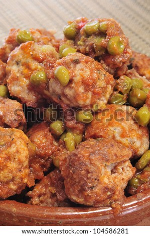 closeup of a plate with spanish meatballs stew