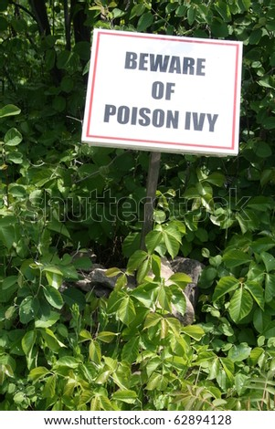 Closeup of a poison ivy warning sign - stock photo