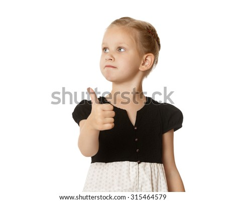 Closeup of a pretty little blonde girl stretched out a hand with a raised thumb to the top. Girl shows gesture. the little girl looks to the side facing away from the camera-Isolated on white - stock photo