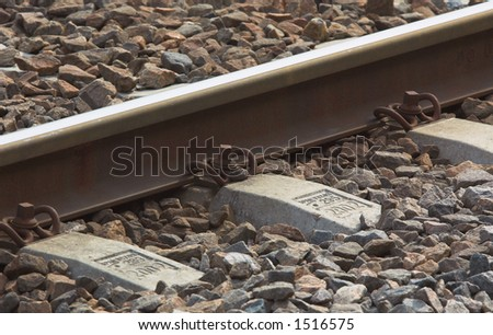 Closeup of a railway - stock photo
