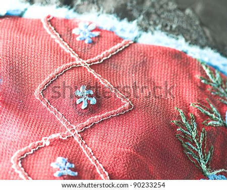 closeup of a red and blue cushion texture - stock photo