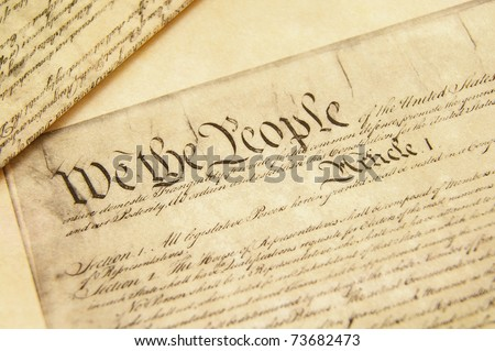 Closeup of a replica of U.S. Constitution document - stock photo