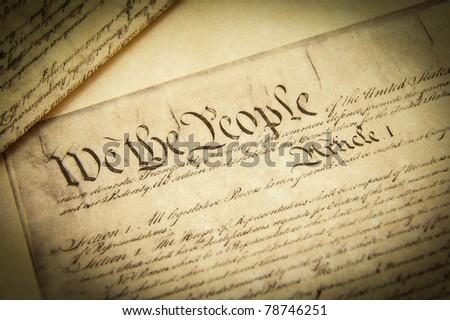 Closeup of a replica of U.S. Constitution document - stock photo