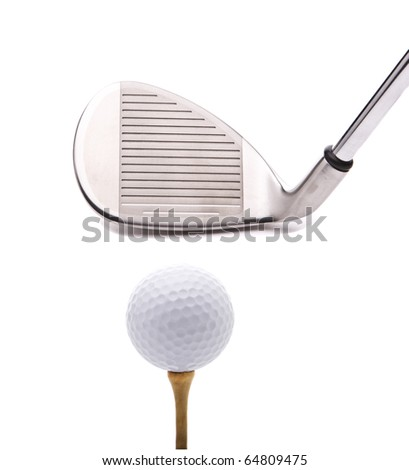 Closeup of a sand wedge and golf ball on a tee isolated on white with a drop shadow