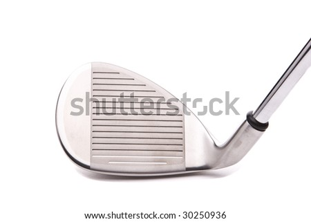 Closeup of a sand wedge on white with a drop shadow
