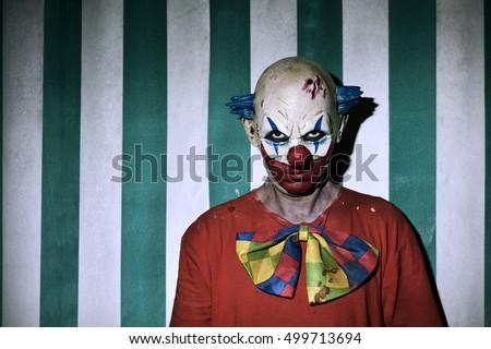 Closeup Scary Evil Clown Wearing Dirty Stock Photo ...
