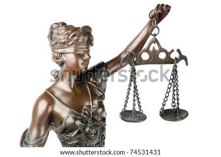 Closeup of a sculpture of Themis, mythological Greek goddess, symbol of justice, blind and holding empty balance in her hand, isolated on white background - stock photo