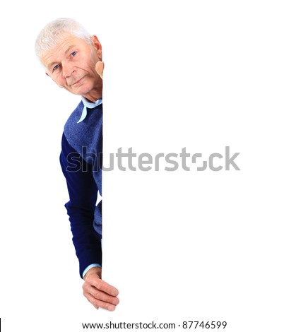 Closeup of a senior man holding blank board over white background - stock photo