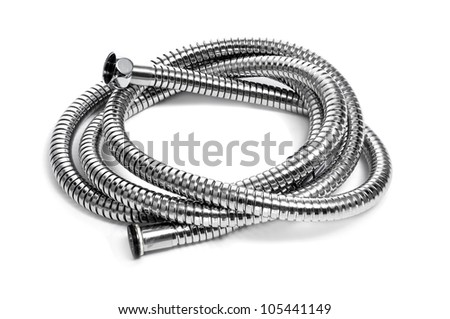 closeup of a shower stainless steel hose - stock photo