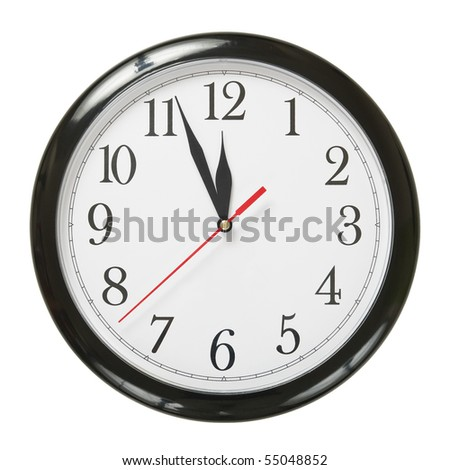 closeup of a simple plastic clock isolated on white