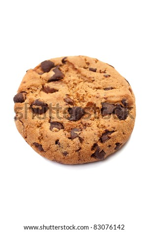 Closeup of a single chocolate cookie on white background - stock photo