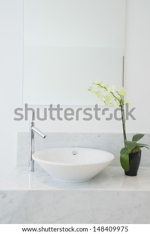 Closeup of a sink and potted plant in the bathroom - stock photo