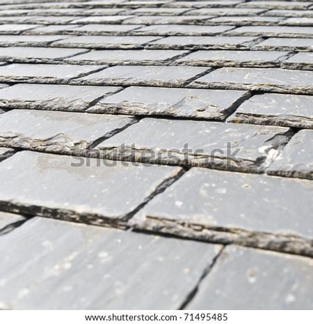 Closeup of a slate roof - stock photo