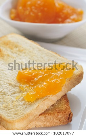closeup of a slice of bread with jam