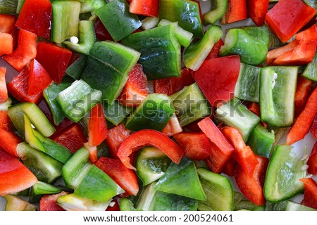 Closeup of a sliced �¢??�¢??peppers - stock photo