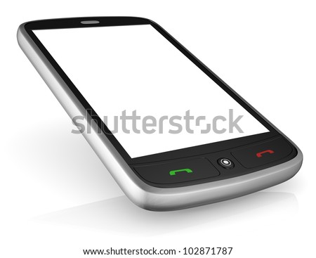 closeup of a smartphones with a white screen for custom text or image (3d render)
