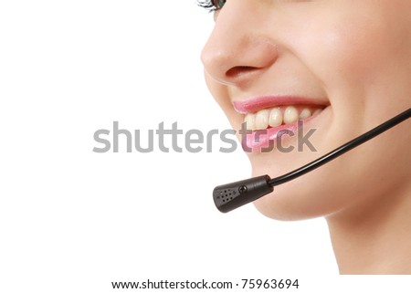 Closeup of a smiling customer service girl - stock photo