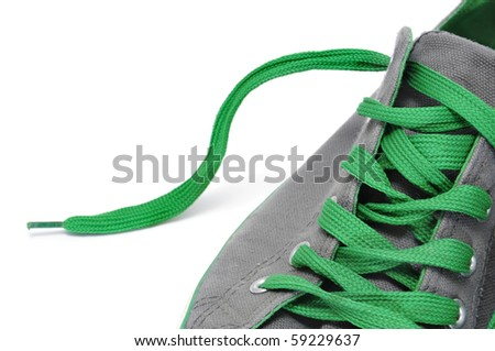 closeup of a sneaker isolated on a white background