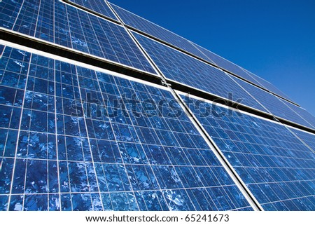 Closeup of a solar panel - stock photo