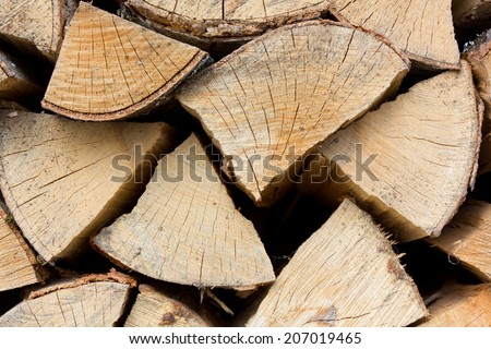 Closeup of a Stack of Wood - stock photo
