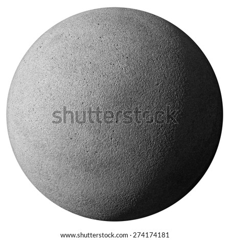 closeup of a stone sphere isolated on white with clipping path