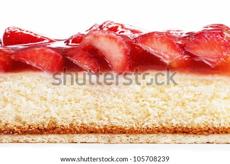 closeup of a strawberry cake from side on white background - stock photo