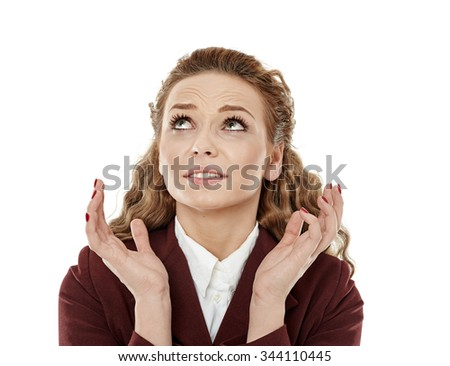 Closeup of a stressed young businesswoman isolated on white - stock photo