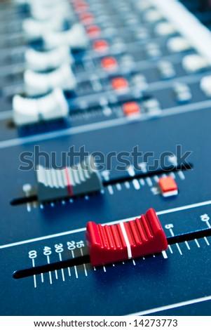 closeup of a studio mixer - stock photo