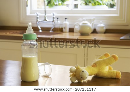 Closeup of a stuffed animal and baby bottle on kitchen counter - stock photo
