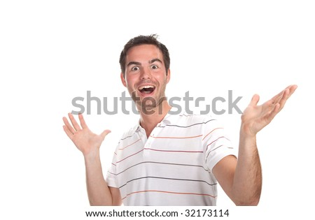 Closeup of a surprised young man looking at camera isolated over white background - stock photo