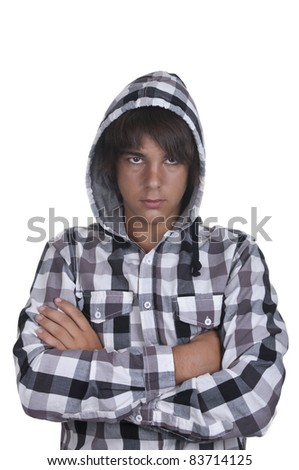 Closeup of a teenager on white background - stock photo