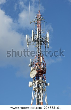 Closeup of a telecommunications tower.