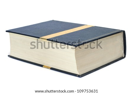 closeup of a thick book on a white background - stock photo