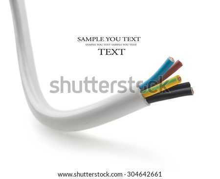 closeup of a three-phase electric cable on a white background - stock photo