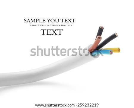 closeup of a three-phase electric cable on a white background (selective focus) - stock photo