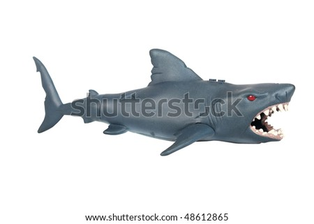 Closeup of a toy rubber shark on white background