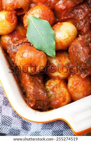 closeup of a traditional greek stifado dish  - stock photo