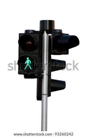 closeup of a traffic light for pedestrians, with the GO image of a person walking lit up - isolated - stock photo